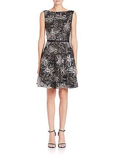 Laundry by Shelli Segal PLATINUM Embroidered Mesh Dress - Black - Size