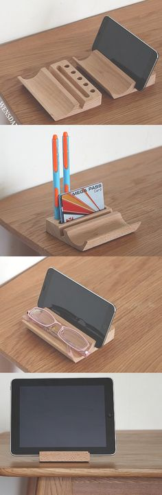 Bamboo Wooden  iPhone iPad Smart Phone Stand Holder Dock Pen Pencil Holder Stand Business Card Display Stand Holder Office Desk Supplies Stationary Organizer,Creative DIY Desk Organizer Ideas to Make Your Desk Cute!