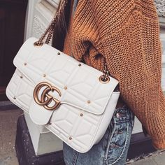 Vintage Gucci bag with chunky sweater and jeans