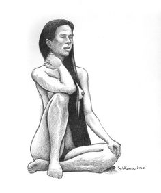 Seated Nude, longhaired model (Aubrey)  Pencil on paper 12 x 9