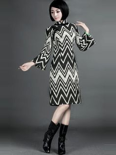 Striped Woolen Long Sleeve Qipao / Cheongsam / Chinese Dress