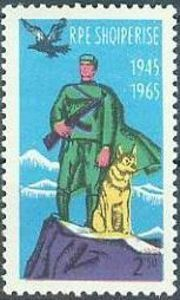 Albania Stamp - Border Guard with Shepherd, Eagle