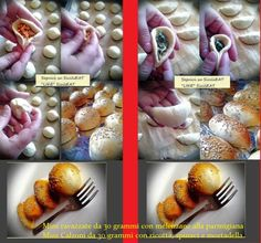 """SicilEat: 1 Kg farina manitoba 100 gr di strutto, 80 gr di zucchero, 20 gr di sale, un cucchiaino di miele, 25 gr lievito fresco. Impastate con il latte tiepido, fate delle palline (circa 100gr) e lasciate riposare 10 minuti. Fate i vostri calzoni o ravazzate o pizzette pesando delle palline da 30 grammi , riempite con la vostra farcia ,fate lievitare e infornate a circa 220 gradi per circa 8 minuti .2 ripieni: """"melenzane alla parmigiana"""" e """"ricotta spinaci e mortadella""""."""