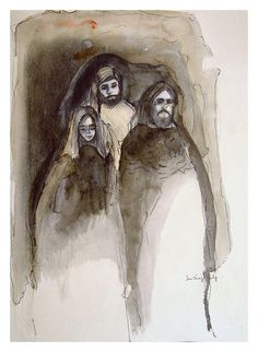 Family Portrait in Monochromatic Watercolor on Chairish.com