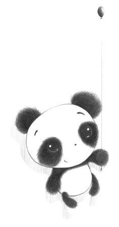 Panda bonito volando