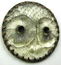 Antique-Lacy-Glass-Button-Fancy-Prong-Set-in-Brass-OWL-FACE-1-amp-1-2-034-Gorgeous