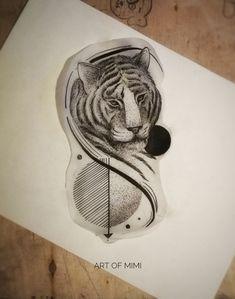Work by Art of Mimi #illustration #fortattoo #tiger #geometric #dotwork #linework #artofmimi