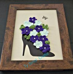 Mixed media art purple Flower Display in High by TySiriolCrafts