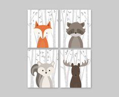 Baby Nursery Decor - Baby Nursery Wall Art Woodland Nursery Animals Baby Room Decor Forest Animal Prints Set of 4 Fox Squirrel Moose Raccoon Pin now to view later