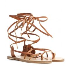Isabel Marant Amy Leather Gladiator Sandals (565 CAD) ❤ liked on Polyvore featuring shoes, sandals, flat sandals, flats, brown, brown leather shoes, flat pumps, flat shoes, greek sandals and roman sandals
