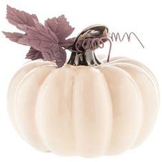 Short Cream Ceramic Pumpkin with Metal Leaves