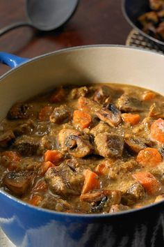 Dijon and Cognac Beef Stew. NYT Cooking: This rich, comforting stew was brought to The Times by Regina Schrambling in 2001 Beef Recipes, Soup Recipes, Cooking Recipes, Cooking Corn, Cooking Wine, Vegetarian Cooking, Slow Cooking, Salt Pork, Beef Dishes