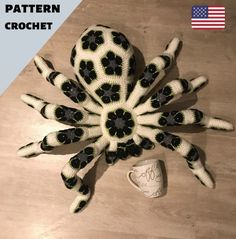 Pattern UK crochet giant spider tarantula african flower pdf Halloween toy kids big birthday gift id African Flower Crochet Animals, Crochet Flowers, Knitted Animals, Diy Crochet, Crochet Toys, Flower Patterns, Crochet Patterns, Giant Spider, Spider Webs