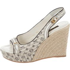 4212535d0bc Pre-owned Louis Vuitton Monogram Espadrille Wedges ( 345) ❤ liked on Polyvore  featuring shoes