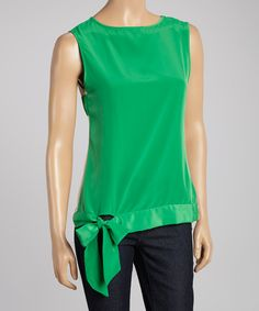 Take a look at this Basically Me Green Rose Petal Sleeveless Top on zulily today!