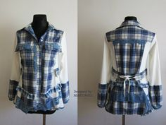 Blue Recycled Shirt, Patchwork Top, Sweatshirt Top, Upcycled Clothing, Boho Chic Tunic by MARTINELI on Etsy