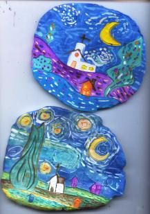 Clay Plaques:  Starry Night  After firing, students used liquid watercolors for their starry night scenes.