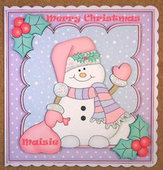 Card Gallery - 8 x 8 Christmas Snowman Oli's Santa Sack Scalloped Topper