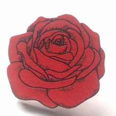 Red Rose Wooden Hat Pin by Crystalchemystic on Etsy