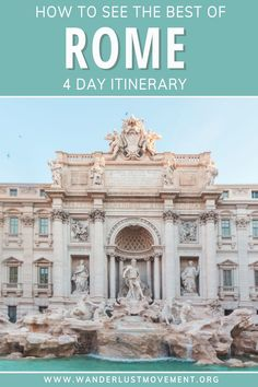 Rome is one of the best destinations in Italy. It's full of history, delicious food and you can see most of the top attractions for FREE. Here are some of the best things to do in Rome, where to stay in Rome and how to see the top Rome attractions like the Colosseum, Palatine Hill, Trevi Fountain, the Vatican and more with only a 4-day itinerary. #rome #itinerary #traveltips #europe #italy