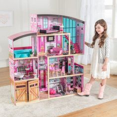 KidKraft Wooden Dollhouse Shimmer Mansion for 12 Inch Dolls Wooden Dollhouse, Dollhouse Furniture, Barbie Doll House, Modern Staircase, Bedroom Loft, Work Lights, Workout Rooms, Play Houses, Painting On Wood