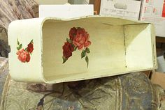 vintage wooden treadle sewing machine drawer salvaged upcycled shabby chic dirty cottage ivory red pink roses distressed storage home decor