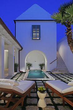 Courtyard in the Santigua house, Alys Beach - mediterranean - exterior - birmingham - Gary Justiss Architect Outdoor Rooms, Outdoor Living, Exterior Design, Interior And Exterior, Porches, Alys Beach Florida, Mini Piscina, Pool Houses, Coastal Homes