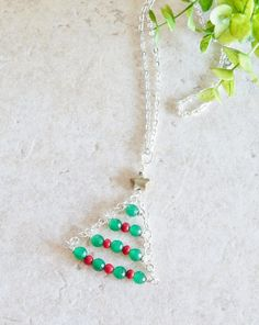 Christmas tree necklace holiday jewelry hostess by AJBcreations, $25.00