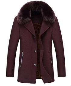 Cruiize Mens Casual Button Front Faux Fur Collar Trenchcoat Wool Blend Peacoat Wine Red Medium at Amazon Men's Clothing store: