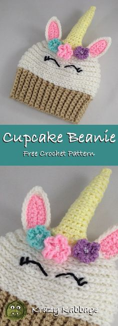 f8bd29c9 Unicorn Cupcake Beanie Hat Free Crochet Pattern – Krazy Kabbage Crochet  Kids Scarf, Crochet Ball