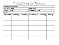 Guided Reading planning sheet - like parts of it