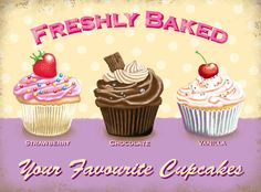 Freshly baked cupcakes, poster