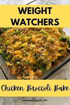 This is one of the most loved Weight Watchers Recipes! This WW (Weight Watchers) Chicken Broccoli Bake is a big hit and is just what you're looking for if you're looking for Weight Watchers recipes green plan, ww recipes blue plan, or ww recipes purple plan! This is a quick and easy dinner, and can be reheated easily for lunch then next day! With it's crispy top and gooey middle, it's a fan favorite! #wwrecipes #weightwatchersrecipes #ww #weightwatchers