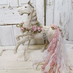Wooden horse statue large hand painted shabby by AnitaSperoDesign
