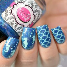Seahorse and Scale Stencils from Blue holographic design Heart Nails, Us Nails, Hair And Nails, Heart Nail Designs, Toe Nail Designs, Mermaid Nail Art, Popular Nail Designs, Purple Nails, Summer Nails