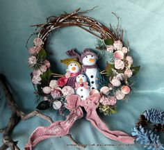 Snow Man Family Beach Wreath by CarmelasCoastalCraft on Etsy, $39.00