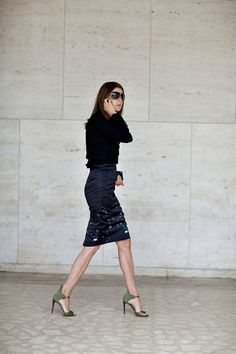Carine Roitfeld - clean lines, great heels, great length on the skirt