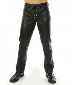 You'll have everyone wrapped around your finger when your package is presented wrapped in the confines of this Lace-Up Leather Pants.  #MaleLeatherPants