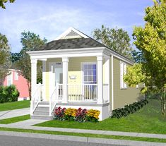 New orleans shotgun house aline st exterior small for Piani casa cottage shotgun
