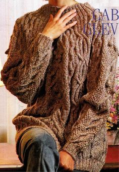 Instant PDF Download Vintage Chart Knitting Pattern to make Ladies Oversize Loose Fitting Richly Cabled Aran Inspired Sweater Pullover Top