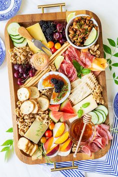 """Treat friends and family to a Summer Charcuterie Board! Also called """"Grazing Boards"""", these cheese platters are the perfect party food for summer picnics, parties, and potlucks! Charcuterie Recipes, Charcuterie And Cheese Board, Charcuterie Platter, Cheese Boards, Party Food Platters, Cheese Platters, Antipasto, Overnight Oats, Walnut Recipes"""