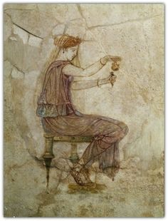Woman  Pouring Perfume into Flask - 1st century from Villa Farnesina.
