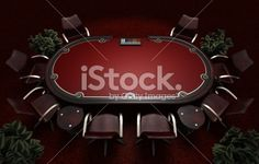 Holdem Poker table with chairs Royalty Free Stock Photo