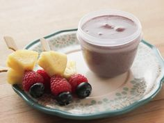 Get Mini Fruit Kebabs with Blueberry Yogurt Dip Recipe from Food Network