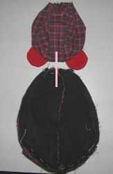Voici la dernière partie du tuto de l'ours de Noël Piquer le tour des bras en laissant une ouverture sur le côté, ainsi qu'en haut ...