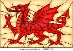 Stained Glass Patterns, Stained Glass Art, Stained Glass Windows, Arm Stock, Welsh Dragon, Illustration, Window Styles, Pixel, Mosaic Art