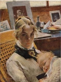 A studio idyll. The artist's wife with daughter Suzanne - Carl Larsson