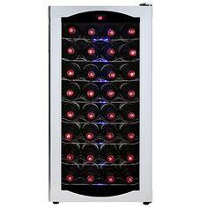 AKDY® 32 Bottles Freestanding Adjustable Temperature Control Refrigerator Super Quiet Electric Wine Cooler Chiller Cellar (WC0002)