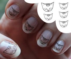 Cat Nail decals   Water Transfer Nail Sticker  by ShopMissElla