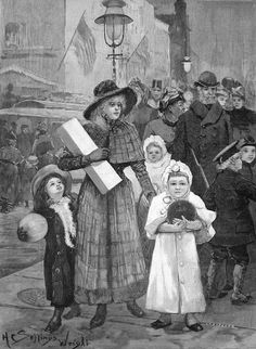 Victorian Illustration, Old Time Christmas, New York, America, London, Painting, Art, New York City, Painting Art
